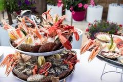 Owoce morza naczynie słuzyć na restauracyjnym stole obrazy royalty free