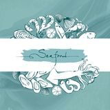 Owoce morza ręka rysująca wektorowa ilustracja Karta z morskiego życia zwierzętami Szablonu projekt dla sztandaru, ulotka, plakat Obraz Stock