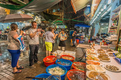 Owoce morza restauracje Świątynny uliczny Tsim Sha Tsui Kowloon Hong Kon Zdjęcie Stock