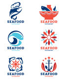 Owoce morza ryba i restauraci loga wektoru ustalony projekt Fotografia Royalty Free