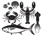 Owoce morza sylwetki set Homar krewetka, krab, tuńczyk ryba, shellfis royalty ilustracja