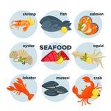Owoce morza ustalony krab, homar, ryba i garnela, kałamarnica łosoś, krewetka, mussel ostryga royalty ilustracja