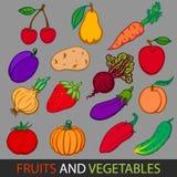 owoce, warzywa Ustawia płaskich wektorowych wizerunki Zdjęcie Royalty Free