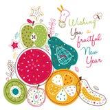 Owocna nowy rok ilustracja Obraz Stock