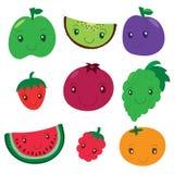 Owocowa i jagodowa kolekcja Wektorowej kreskówki uśmiechnięci charaktery C Obraz Royalty Free