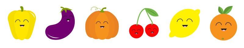 Owocowa jagodowa jarzynowa u?miechni?ta twarzy ikony setu linia Pieprz, ober?yna, dyniowa wi?nia, cytryna, pomara?cze ?liczny kre royalty ilustracja
