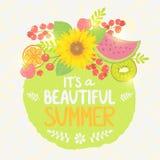 Owocowa lato etykietka Zdjęcia Royalty Free