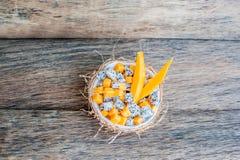 Owocowa sałatka z smoka melonowem w połówce koksu i owoc Fotografia Royalty Free