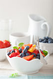 Owocowa sałatka z truskawkową czarnej jagody morelą dla śniadania obraz royalty free