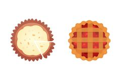 Owocowe deserowe pasztetowe wektorowe ikony w kreskówce projektują Słodka piekarni produktu, jagody i śmietanki tortowa wektorowa royalty ilustracja