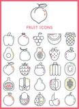 owocowe glansowane ikony ustawiają Obrazy Stock