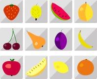 owocowe glansowane ikony ustawiają Obrazy Royalty Free