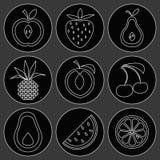 Owocowe i czereśniowe ikony ilustracja wektor