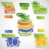 Owocowe ikony Obrazy Royalty Free