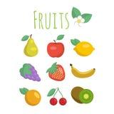 owocowe ikony ustawiają Zdjęcia Royalty Free