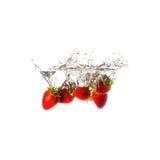 Owocowe pluśnięcie truskawki Zdjęcie Royalty Free