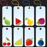 owocowe ustalone etykietki Zdjęcia Royalty Free