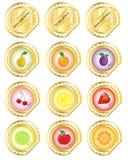 owocowe złociste etykietki ilustracji