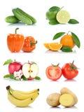 Owocowej owoc i warzywo bananowej kolekci odosobniony jabłczany ora Obrazy Royalty Free