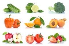 Owocowej owoc i warzywo kolekci odosobniony jabłczany pomarańczowy col Fotografia Stock
