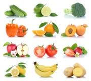 Owocowej owoc i warzywo kolekci odosobniony jabłczany pomarańczowy lem Obraz Royalty Free