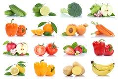 Owocowej owoc i warzywo kolekci odosobniony jabłczany pomarańczowy lem Obrazy Royalty Free