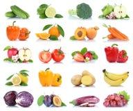 Owocowej owoc i warzywo kolekci odosobniony jabłczany pomarańczowy lem Obrazy Stock