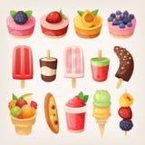 Owocowi desery ilustracji