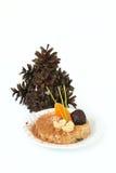 Owocowy deser i choinka od rożków Obraz Royalty Free