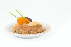 Owocowy deser na białym spodeczku Zdjęcia Royalty Free