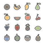 Owocowy ikona set, mieszkanie kreskowa wersja, wektor eps10 Zdjęcia Royalty Free