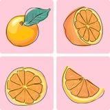 owocowy ikony pomarańcze set Zdjęcia Royalty Free
