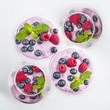 Owocowy jogurt Zdjęcia Royalty Free