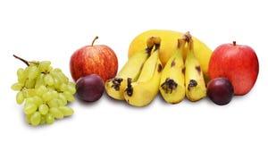 Owocowy kolaż z bananami, jabłka, śliwki Fotografia Stock