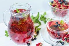 Owocowy napój w przejrzystej szklanej karafce i filiżance Fotografia Stock