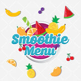 Owocowy ` s Smoothies menu Fotografia Stock