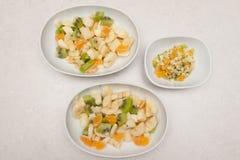 Owocowy sallad dorosły i dziecka porcja Zdjęcia Stock