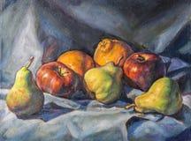 Owocowy skład malujący z nafcianą farbą Obrazy Royalty Free