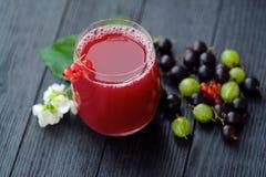 Owocowy sok i jagody na drewnianym tle Zdjęcie Stock