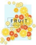 Owocowy tło z pomarańczami Zdjęcia Royalty Free