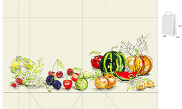 owocowy torba szablon ilustracji