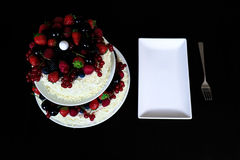 Owocowy torta stół Obraz Royalty Free