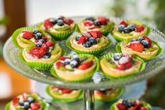 Owocowych i jagodowych tarts deserowa taca dobieraj?ca Zbli?enie pi?kni wy?mienicie ciasto cukierki z ?wie?ymi naturalnymi czerni zdjęcia royalty free