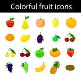 Owocowych ikon kolorowy set dla sieci i druku Obrazy Royalty Free