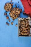 Owsów ciastka z czekoladowymi układami scalonymi i hazelnuts zdjęcie stock