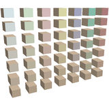 Ows of cubes boxes cartons in colors on white Stock Photography
