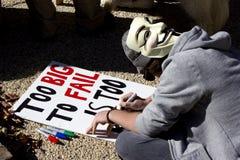 OWS, protestation mondiale des Etats-Unis le 15 octobre 2011 Image libre de droits