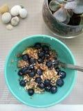 Owsa śniadanie z bananem, czarnymi jagodami i ziarnem, obraz stock