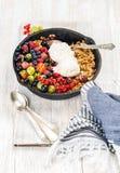 Owsa granola rozdrobni z jagodami, ziarnami i lody, Zdjęcie Stock