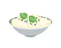 Owsianka talerz w pucharze odizolowywającym na białym tle śniadaniowy zdrowy karmowy gorący wyśmienicie i jarski groats garnirune ilustracji